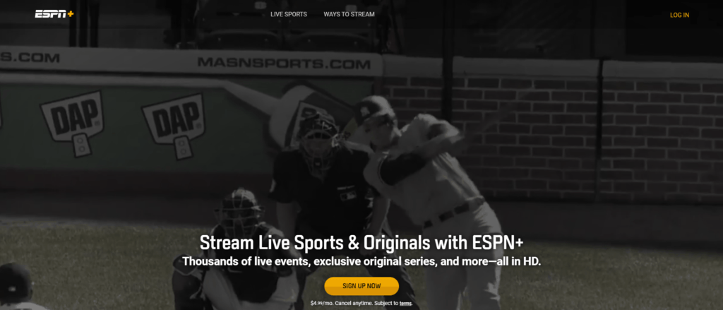 Screenshot taken on ESPN+'s Official Website