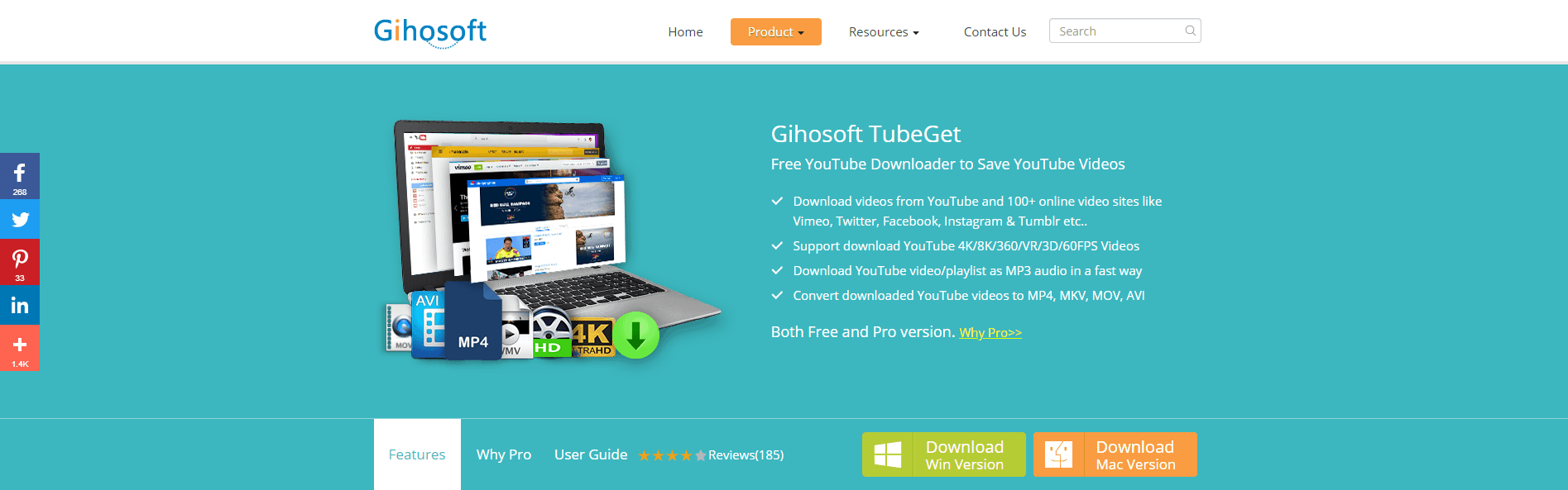 Gihosoft TubeGet Homepage Screenshot