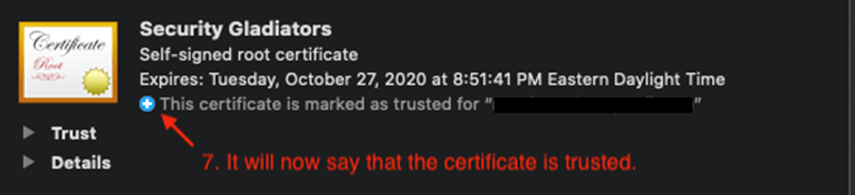 trusted certificate evidence screenshot