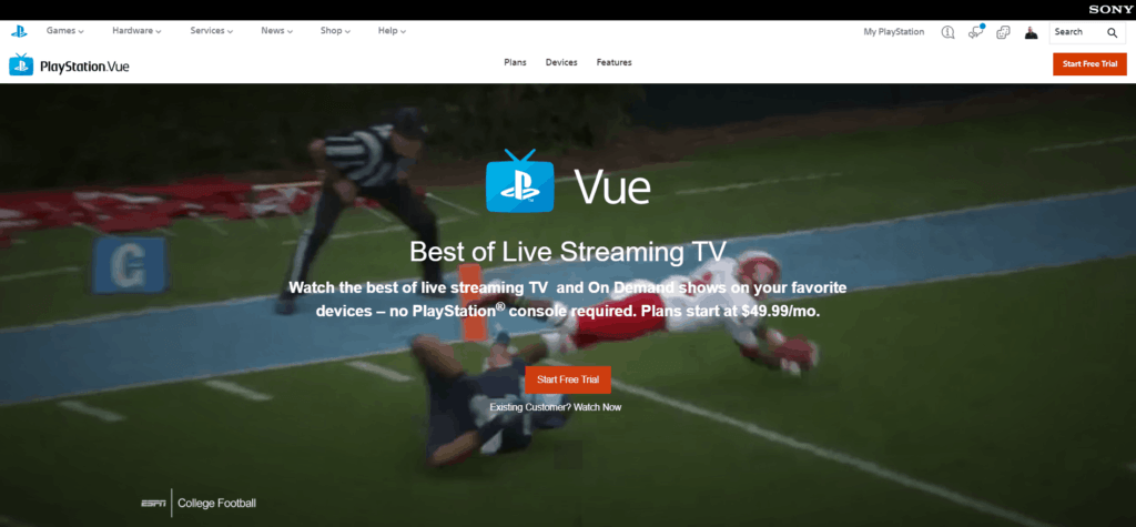 Screenshot taken on PlayStation Vue's Official Website