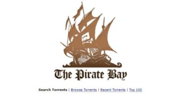 An image featuring the homepage of thepiratebay website