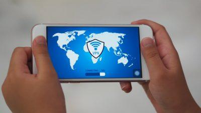 VPN service on a smart phone background