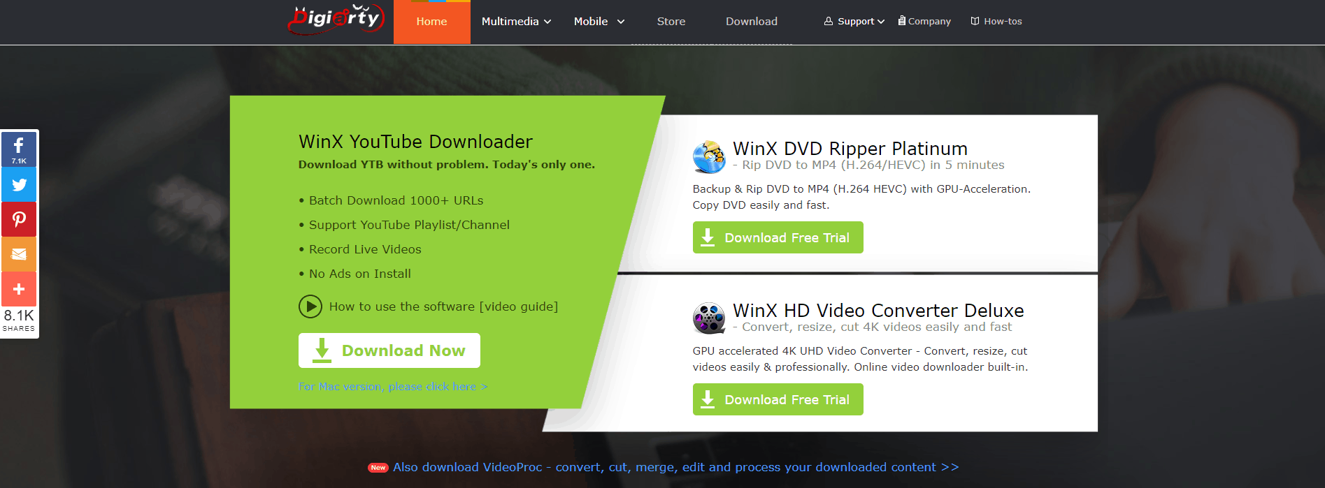 WinX YouTube Downloader Homepage Screenshot