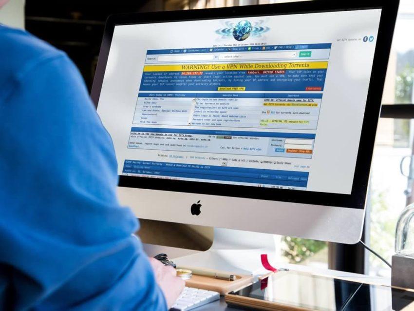 eztv homepage on an iMAC