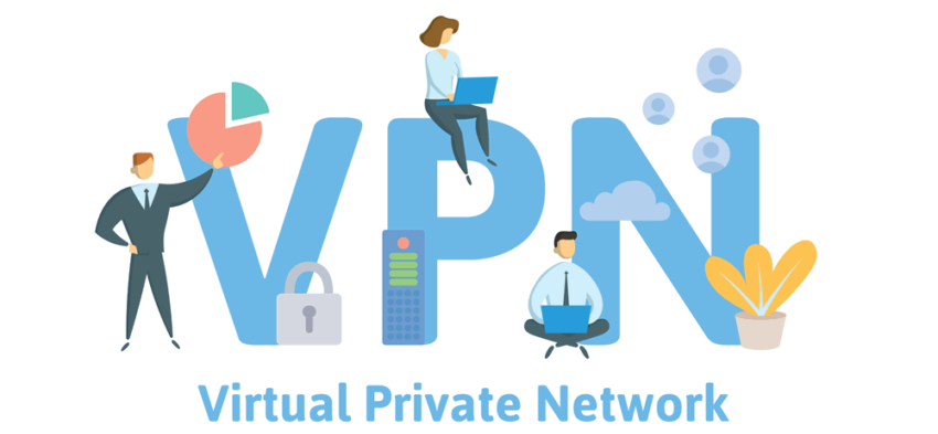 the word VPN with people sitting around it. Illustration