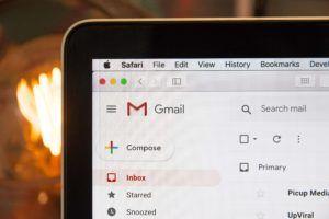 screenshot of gmail interface opened in safari browser