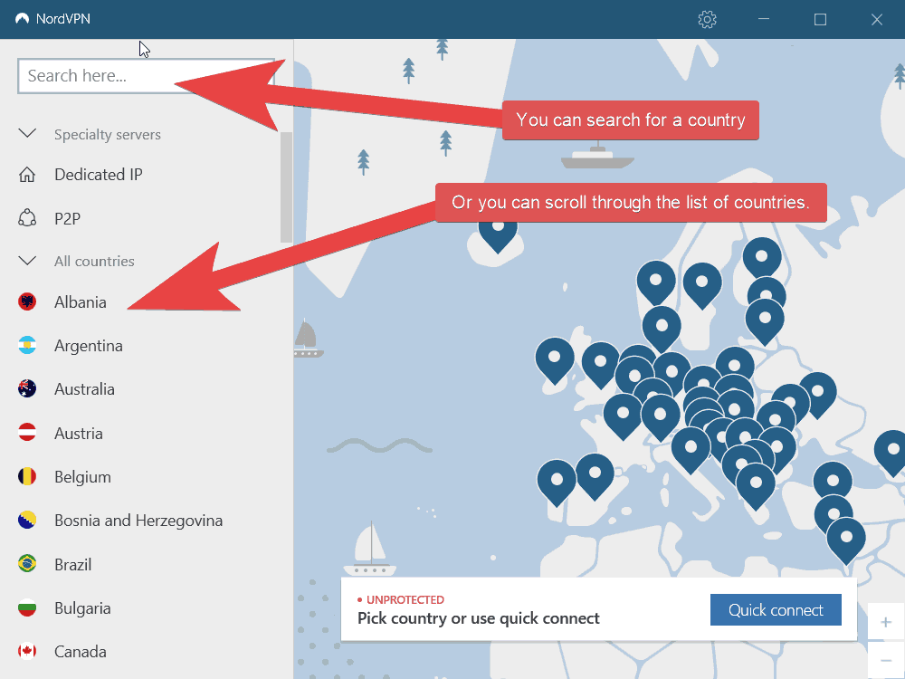 An image of the NordVPN application which shows where you can search for a country or scroll through the list