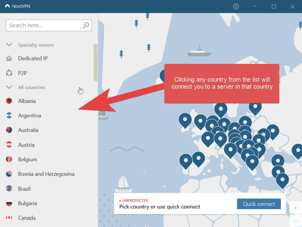 An image of the NordVPN application which shows where to choose a country to connect to a server in that country