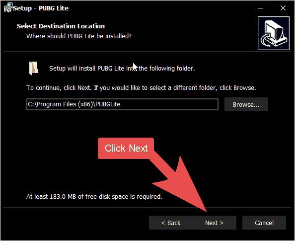 PUBG Lite Setup destination folder selection