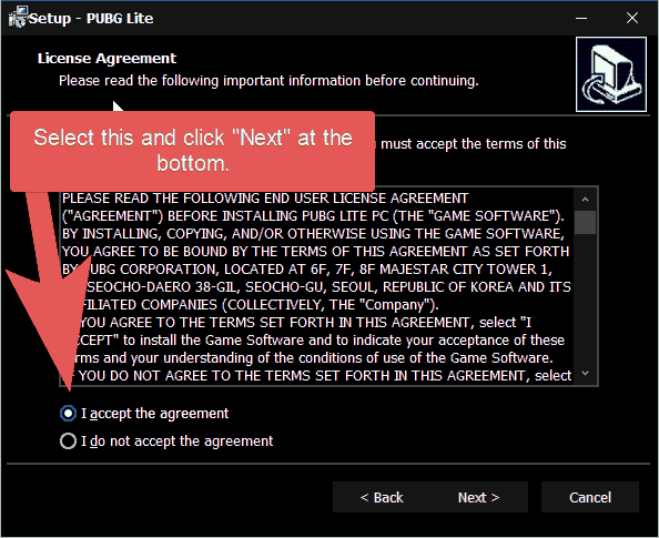 PUBG Lite Setup license agreement