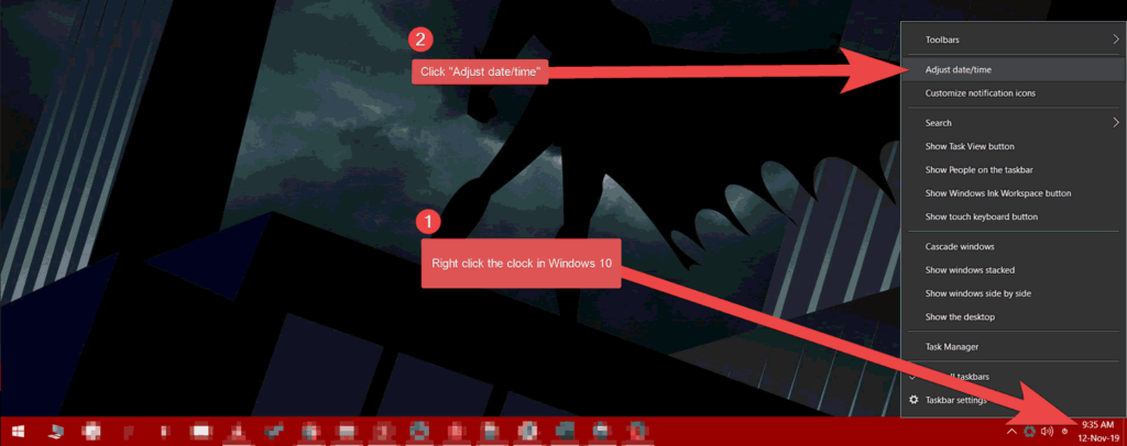 An image showing the desktop where you can adjust the date and time on your personal computer