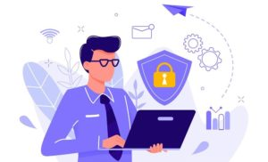 man with a laptop and online security related icons around
