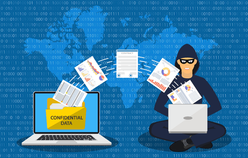 hacker stealing confidential data