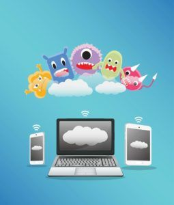 malware in cartoon form above three devices