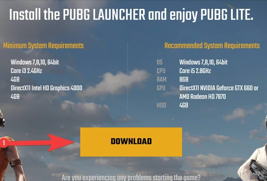 pubg lite download page