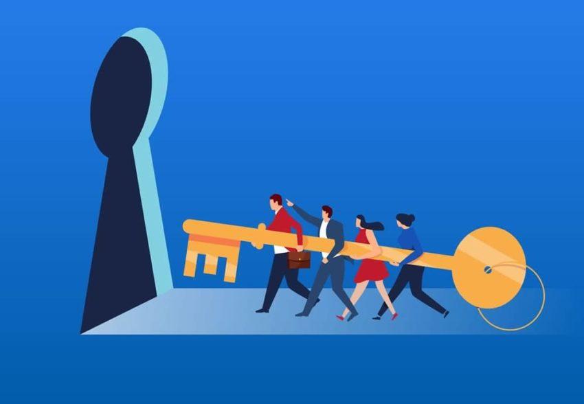 multiple people holding gigantic key and moving towards mammoth keyhole