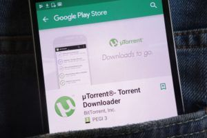 utorrent Google Play store page opened on a mobile