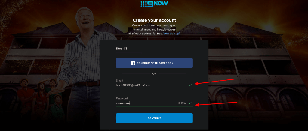 An image featuring how to login on the 9now website
