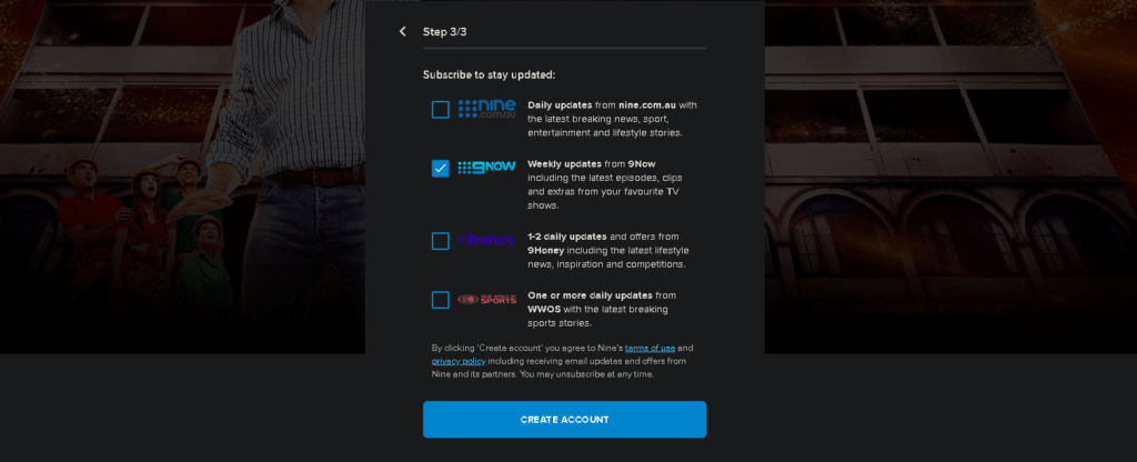 An image featuring how to select subscription on the 9now website