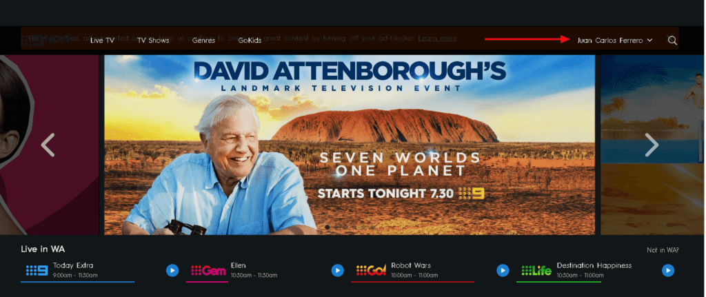 An image featuring the logged in confirmation on the 9now website