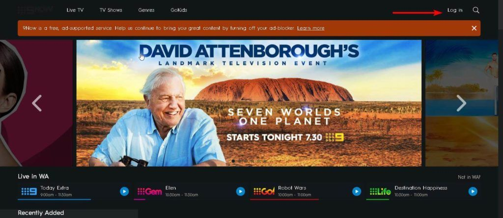 An image featuring the homepage of the 9now website