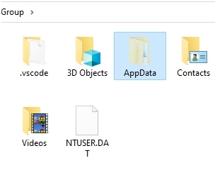 AppData folder in windows file manager