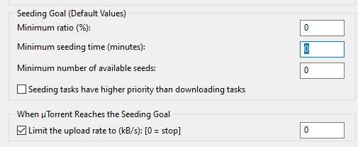 Minimum Seeding Time set to 0