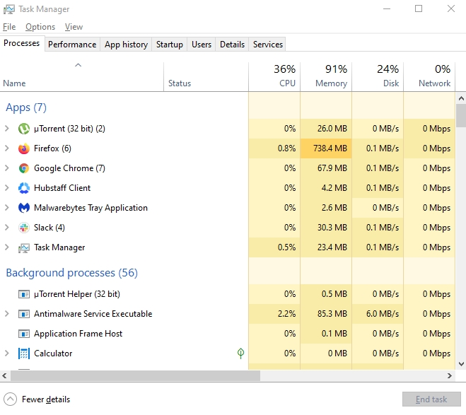 task manager in windows showcasing utorrent