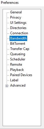 Bandwidth selection for utorrent