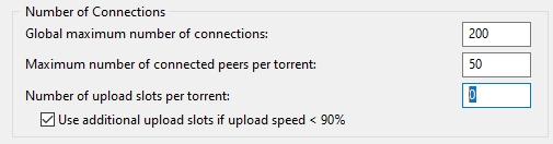 the option Number of Upload Slots Per Torrent set to 0
