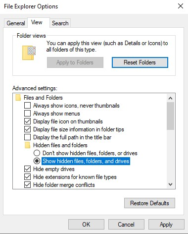 Show hidden files and folders