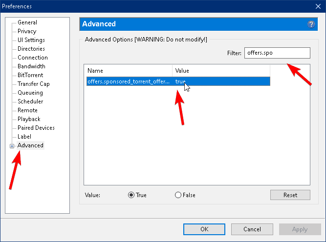 remove ads in uttorent option located within preferences and advanced
