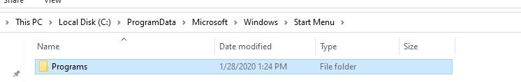 programs folder