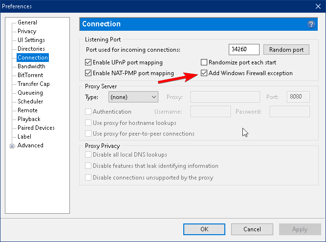 firewall preferences check in utorrent settings image