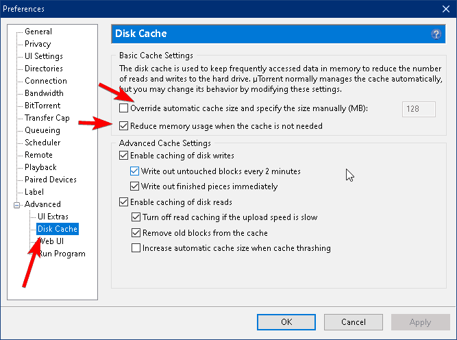 disk cache settings within the preferneces tab of the utorrent client