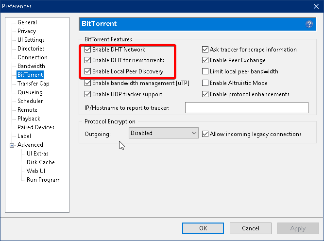preferences tabb within the bittorent settings that enables DHT Network and Local Peer discovery