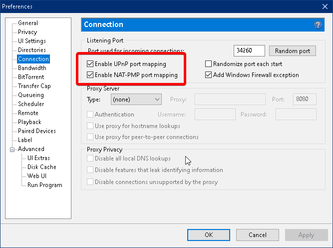 preferences tab and connection settings in utorrent clients with highlighted UPnP and NAT_PMP report mapping
