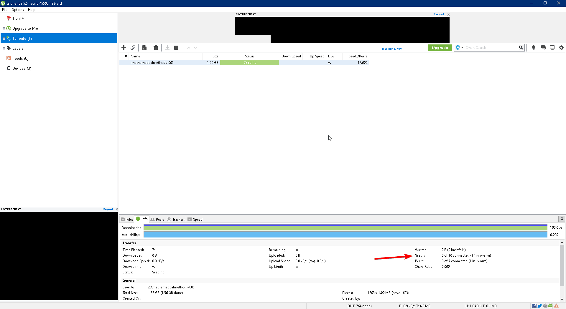 check number of seeders on a torrent client
