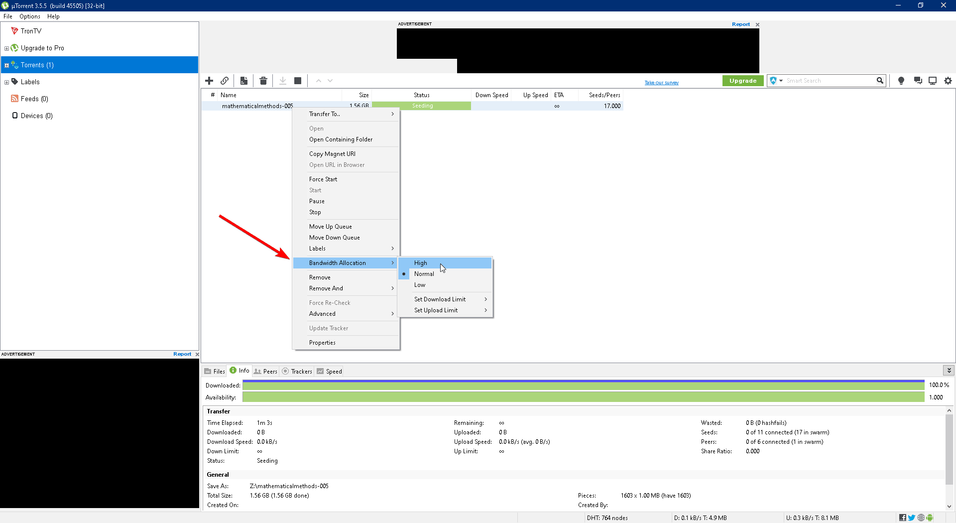 utorrent client open with a selected option for reallocation