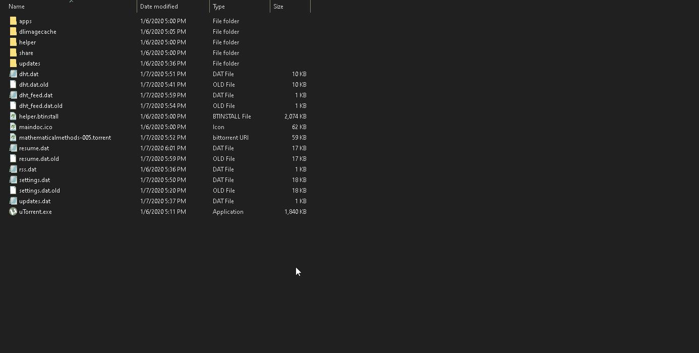 utorrent client windows folder open in windows manager