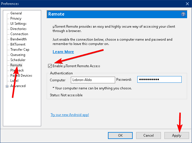 remote access utorrent enable option within the utorrent client