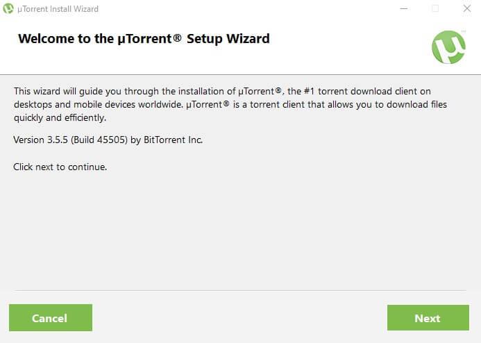 welcome utorrent setup click next