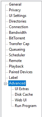 the advanced tab in utorrent
