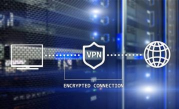 an image of servers with vectors from a computer monitor, guard and planet with the words encrypted connection and vpn on it