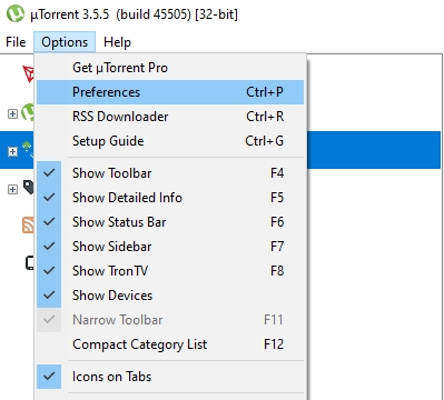 utorrent options and preferences tab screenshot