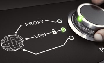 an image of a wheel spinned by two fingers with a planet vector and the words proxy and vpn