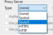 selecting the Socks5 proxy server option in utorrent screenshot
