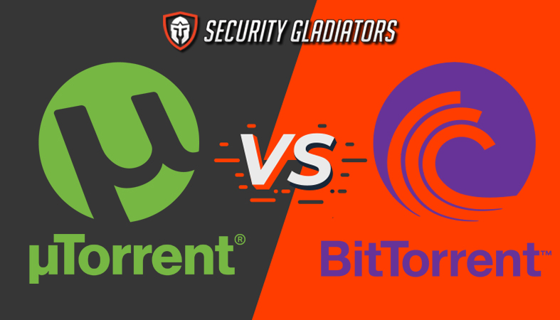utorrent vs bittorrent featured image featuring the logos of the programs as well as a grey and orange background with the security gladiators logo