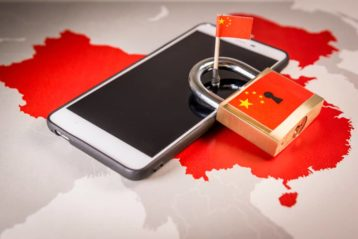 an image of a phone and lock with the chinese flag