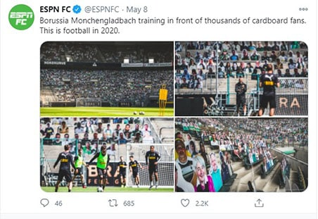 An image featuring Borussia Monchengladbach training in front of thousands of cardboard fans on twitter